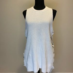 White Sleeveless Knitted Top